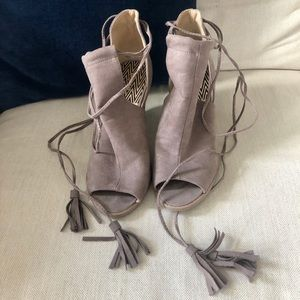 Ankle Wrap Wedges - Taupe. Size 8:5
